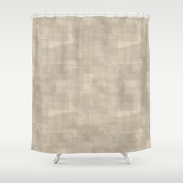 Neutral Brown Squares Abstract Pattern Shower Curtain