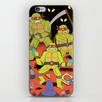 foo fighters iPhone & iPod Skins featuring TURTLES FIGHTERS - REVENGE by Jack Teagle