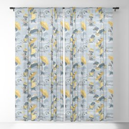 Ready For a Rainy Walk // pastel blue background dachshunds dogs with yellow and transparent rain co Sheer Curtain