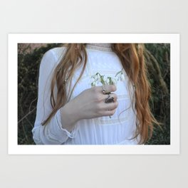Holding Flowers - Snowdrop Winter Vintage Fashion Style Photograohy Art Print