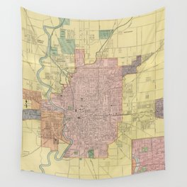 Vintage Map of Indianapolis Indiana (1903) Wall Tapestry