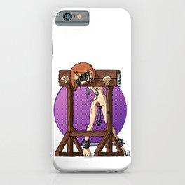 Redhaired Slavegirl in stocks iPhone Case