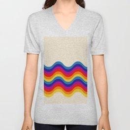 Wavy retro rainbow Unisex V-Neck
