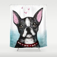 boston terrier Shower Curtains featuring Boston Terrier by Inked in Red