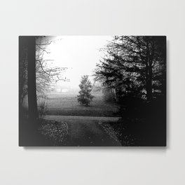 Black and White Woods Metal Print