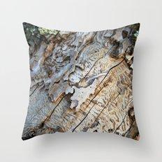 Eaten Wood Throw Pillow