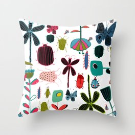 Insect watercolor white Throw Pillow