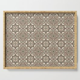 Ornamental Scroll Pattern Earthen Trail, Melon Green, Dover White & Ever Classic Gray Serving Tray