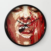 american psycho Wall Clocks featuring Psycho by Earl of Grey