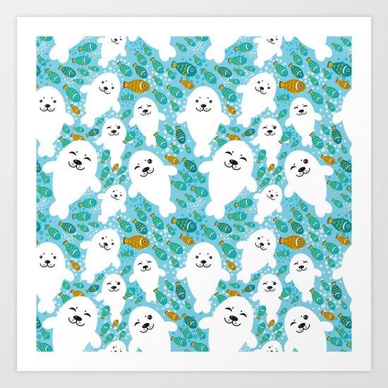 White cute fur seal and fish in water Art Print