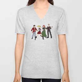 Cartoony Buffy and the gang Unisex V-Neck