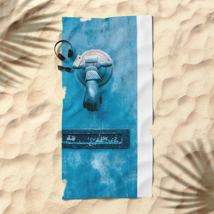 Blue Doorknocker Beach Towel