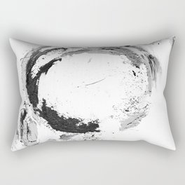 Black abstract circle artprint black and white illustration Rectangular Pillow