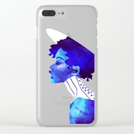 Woman in Blue Clear iPhone Case