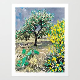 Olive Tree & Gorse Bush Art Print