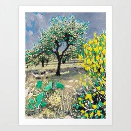 Olive Tree & Gorse Bush Art Print