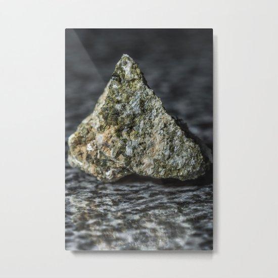 Epidote resting on granite Metal Print