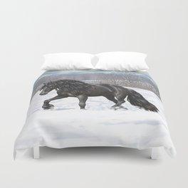 Friesian Horse Trotting In Snow Duvet Cover