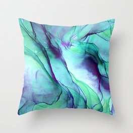 Violet Turquoise Flow - Alcohol Ink Painting Throw Pillow