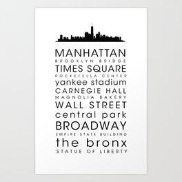 New York City Skyline Bus Blind Art Print