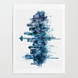 Seattle Skyline monochrome watercolor Poster