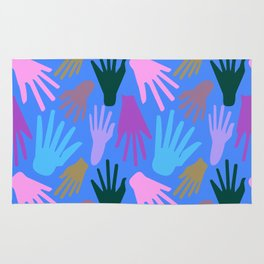 Minimalist Hands in Blue Rug