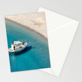 A fishing boat in Agios Minas beach of Karpathos, Greece Stationery Cards