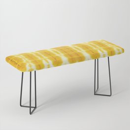 Yellow Linen Shibori Stripe Bench