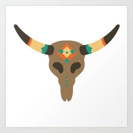 Vintage Bull Skull Art Print
