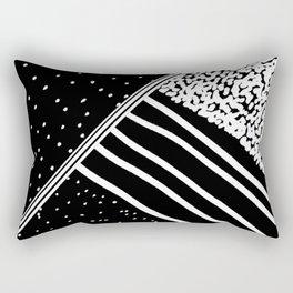 Geometrical black white watercolor polka dots stripes Rectangular Pillow