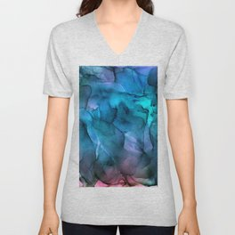 Abstract Ink Blue Turquoise Pink Marble Unisex V-Neck