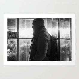 Man in front of Flowers Shop, E Art Print