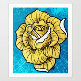 Digitally edited Painting 'Rose Tattoo' Art Print