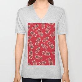 Boho red floral pattern hand drawn Unisex V-Neck