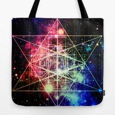 Rainbow Flower of Life : Sacred Geometry Tote Bag