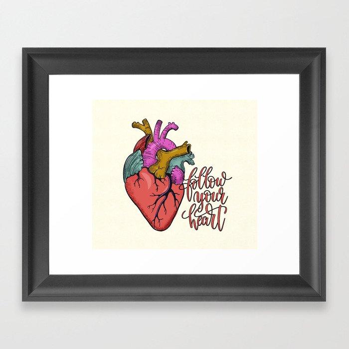 FOLLOW YOUR HEART - tatoo artwork Gerahmter Kunstdruck