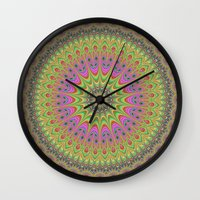 mandala Wall Clocks featuring Floral ornament mandala  by David Zydd