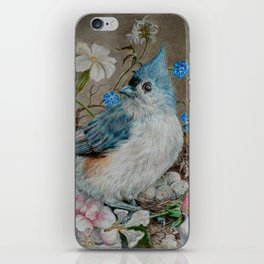 Blue Titmouse and Bee with floral still life iPhone Skin