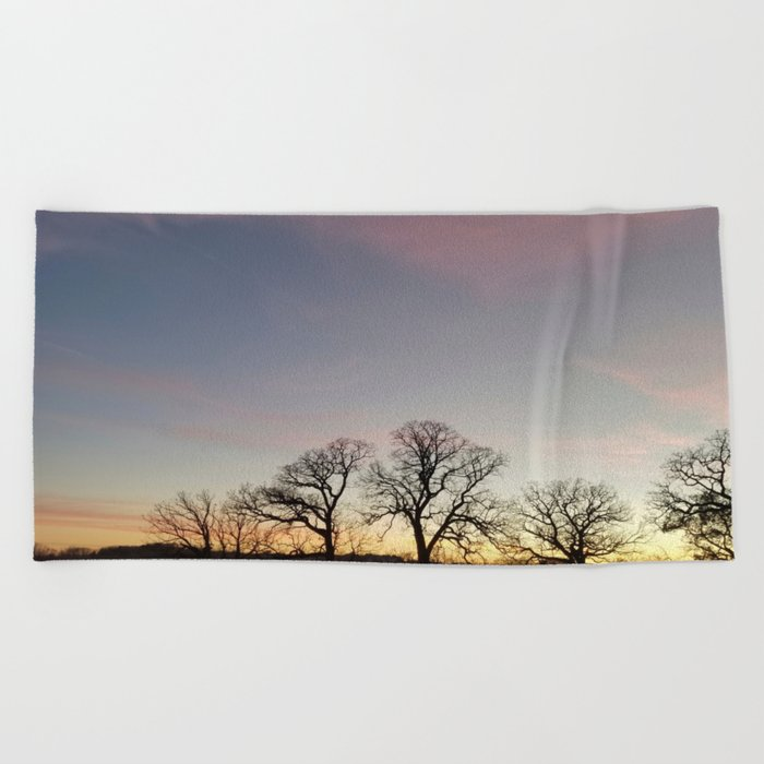 Autumn Sunset Silhouette - Pheasant Branch Conservancy Beach Towel