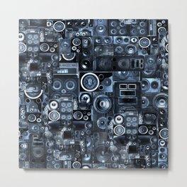 Speakers and Skulls (seamless) Metal Print