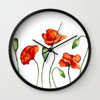 poppies Wall Clocks featuring Poppies by Julia Badeeva