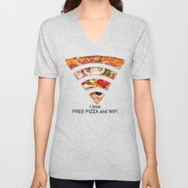 FREE PIZZA AND Wi-Fi Unisex V-Neck