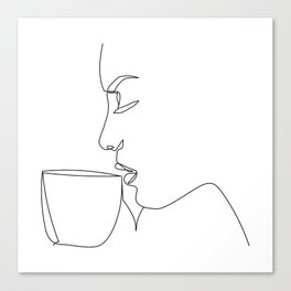 """Profile Collection"" - Woman Drinking Coffee Canvas Print"