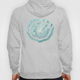 """Aquamarine Pastel and Teal Agate Crystal"" Hoody"