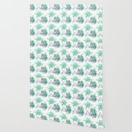 Succulents Mint Green Lavender Lilac Violet Pattern Wallpaper