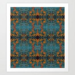 The Spindles- Blue and Orange Filigree  Art Print