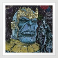 thanos Art Prints featuring Thanos by GraphixRob Studios