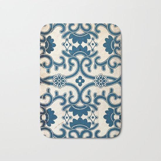 Blue Oriental Vintage Tile 02 Bath Mat