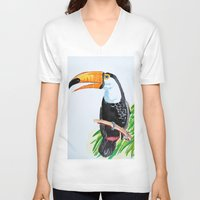 toucan V-neck T-shirts featuring Toucan by The Traveling Catburys