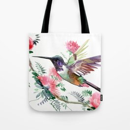 Flying Hummingbird and Red Flowers Tote Bag